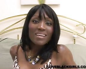Ebony bitch does a solo masturbation scene hoping she will make it in porn