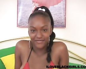 Attractive Ebony girl gently massages naked vagina solo on camera
