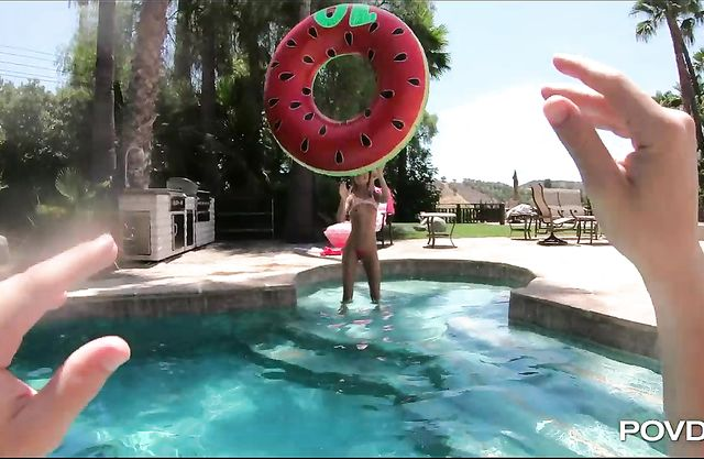 My petite blonde GF loves getting fucked hard after skinny dipping in the pool