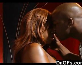 Black dude stuffs pussy of his ebony girlfriend with his massive black schlong
