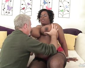 Horny dude fucks a chubby ebony mom's pussy and squeezes her huge boobs