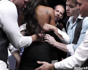 Topnotch ebony slut gets gangbanged in a rough way getting holes stretched