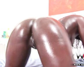 Oiled up lesbian slut gets gangbanged hardcore enjoys cocks in mouth and cunt