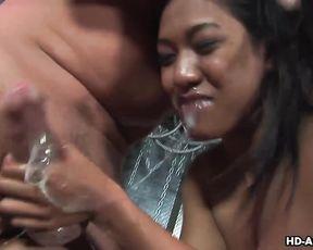 Dirty ebony bitch gets mouth fucked hardcore enjoys a huge load of sperm