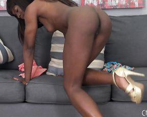 Cock addicted ebony hottie drills her big needy pussy with a glass dildo