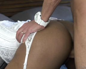 Hot assed ebony girl in white stockings gets ass plugged pussy fucked