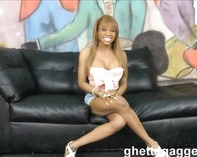 Petite Ebony whore undresses to be brutally analyzed naked on sofa
