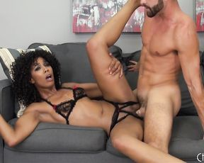 Slim black pornstar and her colleague embark naked sex show on webcam