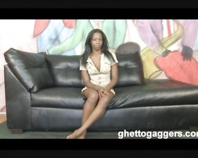 Stunning black hottie lets bully screw naked twat in rough sex poses