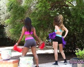 Cheerleader humps black slut with naked boobs and ass in different positions