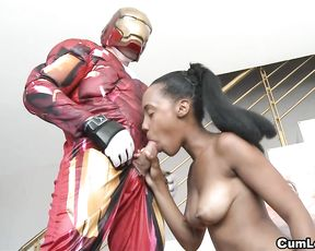 Guy dressed like Iron Man has fun with naked black girlfriend at home