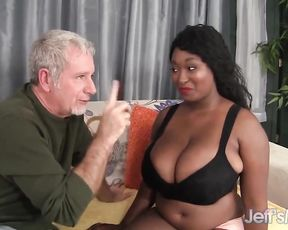 Grey-haired man fucks black BBW chick and cums on her naked melons