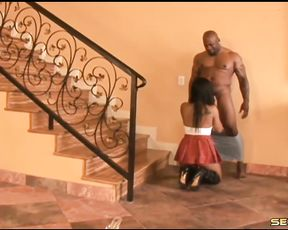 Excited girl lets huge black man impale her naked twat from behind