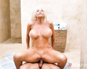 Busty bombshell naked girl gets banged in reverse cowgirl pose