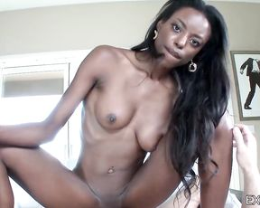 Cute girl with black body brings strange guy home for naked sex