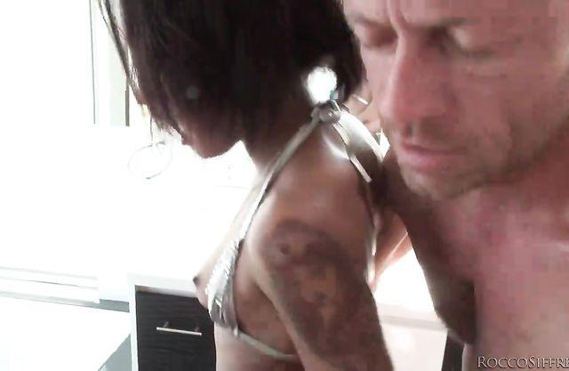 Italian fucker vigorously drills naked ass of black whore in fishnets