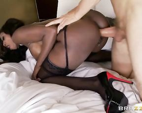 Ebony MILF sent husband to work and enjoyed naked cock of white lover