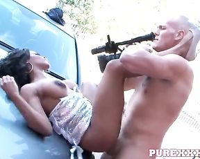 Naked man takes camera to film his cock penetrating pussy of black slut