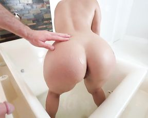 Sexy naked stepmom shows off her nice ass and big tits in the shower