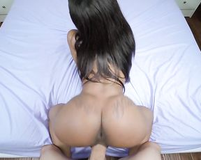 Sexy naked ebony girl gets assfucked doggystyle in POV