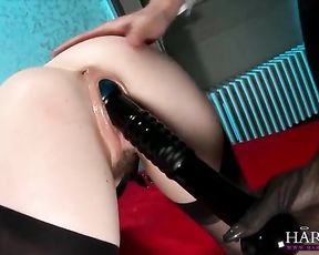 Ebony mistress with blonde hair and slave are fucked in naked cunts in turn