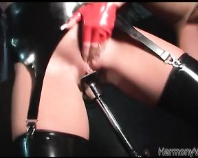 Black chick in red beret is fucked from behind after blonde dildoes naked ass