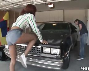 Black girl puts on denim shorts and provokes man to fuck naked pussy