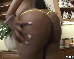 Ebony chick thinks boyfriend should take a break and fuck naked pussy