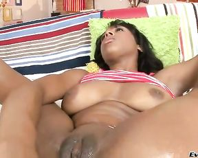 Oiled up black hottie welcomes partner's pecked deep into naked hole