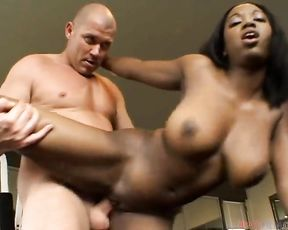 Appetizing Ebony with big naked boobs and hot ass owned on black couch