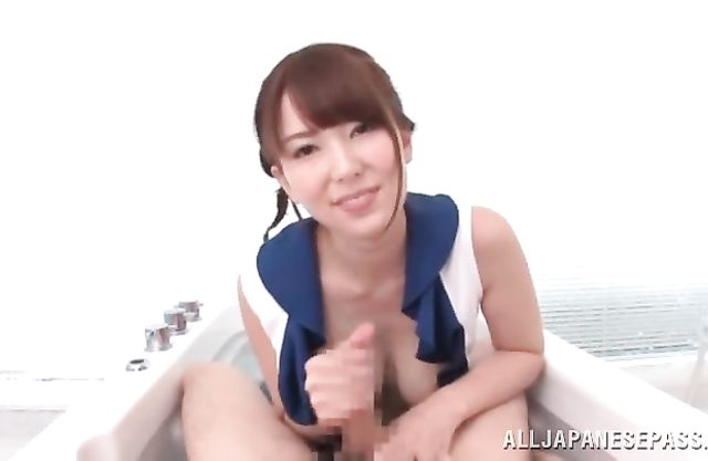 Good-looking Japanese girl gives naked partner blowjob in POV style