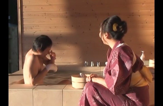 Stunning Japanese geisha passionately makes love with naked client