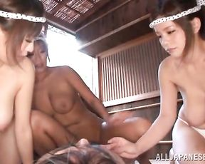 Lucky Japanese guy dragged in group fuck with three naked goddesses