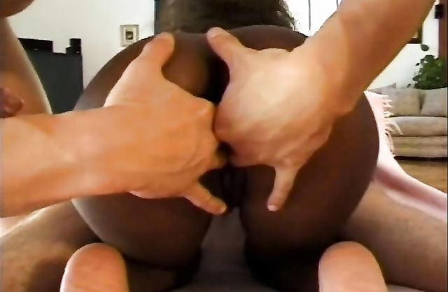 Naked men double penetrate slender Ebony gal giving her new experience