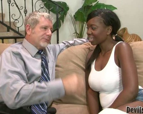 Experienced man gives naked black girl pounding she truly deserved