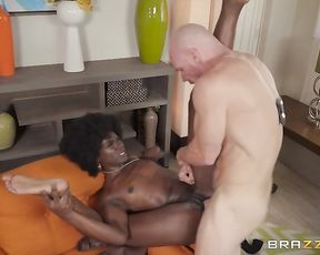 Bald cop and Ebony girl seize the moment and practice naked sex
