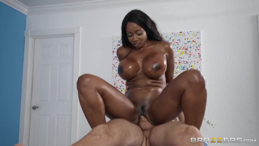 Ebony Squirts Riding Dick
