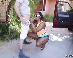 Ebony young woman has never had naked white dick in mouth outdoors