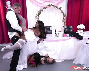 Black young woman with naked big tits out of wedding dress penetrated