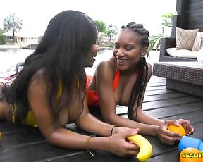 Black office girls are naked so they go to resort to play with water guns