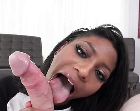 Excited Ebony sexpot gets on knees and wraps lips around naked cock