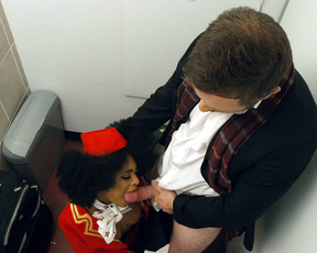Stewardesses catch black colleague giving naked pilot nice blowjob