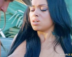 Naked Ebony bombshell enjoys interracial hot sex in the fresh air