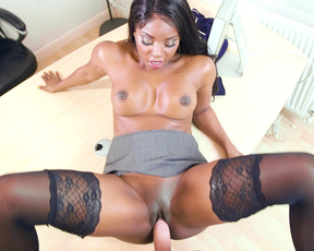 Black boss lets office worker fuck shaved naked pussy as a bonus