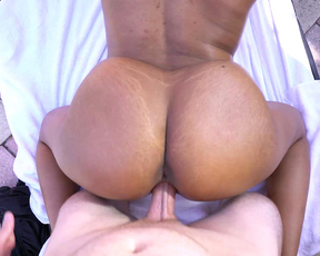 Naked guy with tattoo gives Ebony girl pleasure fucking her in doggy