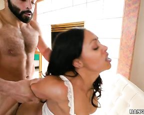 Partner fingers black pussy and fucks sexy naked girl from behind