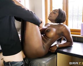 Naked MILF climbs on washer and man stretches black pussy with huge dick