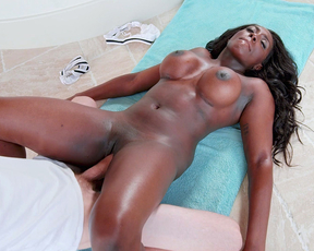 Skillful masseur penetrates naked Ebony client with his huge penis
