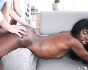 Latin youngboy has fun with naked Ebony stepsister in living room