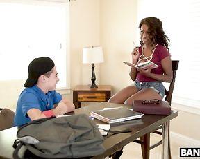 Boy answers correct thus motivating Ebony teacher to get fully naked